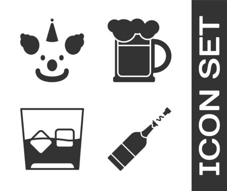 Set Champagne bottle , Clown head , Glass of whiskey and ice cubes  and Wooden beer mug  icon. Vector
