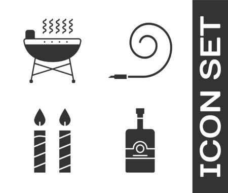 Set Whiskey bottle , Barbecue grill , Birthday cake candles  and Birthday party horn  icon. Vector