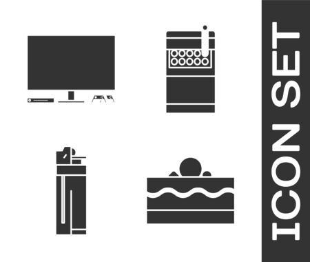Set Cake , Video game console , Lighter  and Open cigarettes pack box  icon. Vector Ilustração