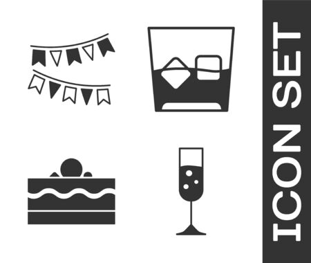 Set Glass of champagne , Carnival garland with flags , Cake  and Glass of whiskey and ice cubes  icon. Vector
