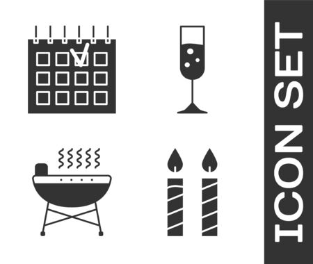 Set Birthday cake candles , Detailed calendar , Barbecue grill  and Glass of champagne  icon. Vector