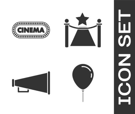 Set Balloon with ribbon , Cinema poster design template , Megaphone  and Carpet with barriers and star  icon. Vector