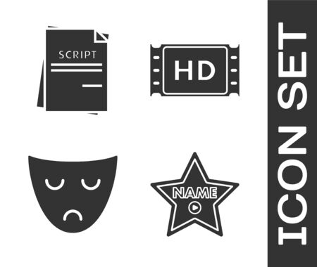 Set Hollywood walk of fame star on celebrity boulevard , Scenario , Drama theatrical mask  and 4k movie, tape, frame  icon. Vector