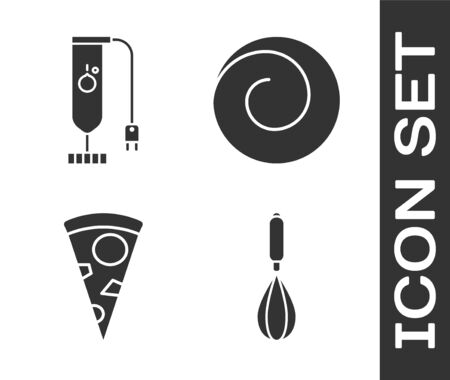 Set Kitchen whisk , Blender , Slice of pizza and Roll bun with cinnamon icon. Vector