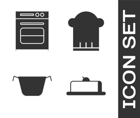 Set Strawberry cheesecake slice, Oven , Cooking pot and Chef hat icon. Vector