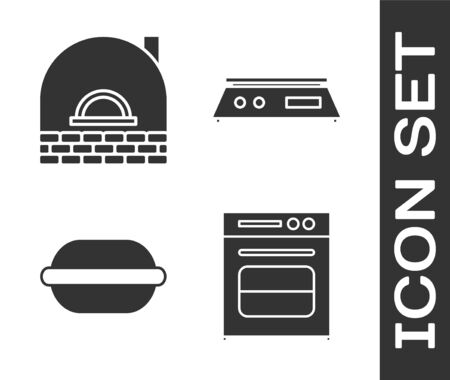 Set Oven , Brick stove , Macaron cookie and Electronic scales icon. Vector 矢量图像