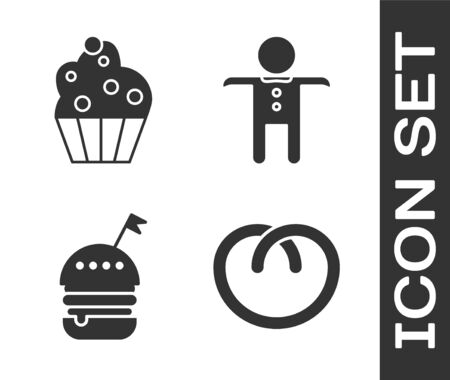 Set Pretzel , Cupcake , Burger and Holiday gingerbread man cookie icon. Vector