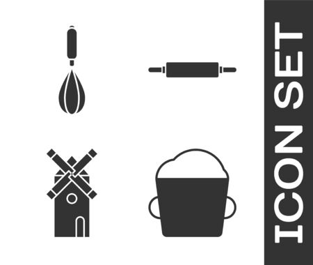 Set Bakery bowl dough , Kitchen whisk , Windmill and Rolling pin icon. Vector