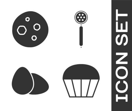 Set Muffin , Cookie or biscuit with chocolate , Chicken egg and Strainer spoon icon. Vector