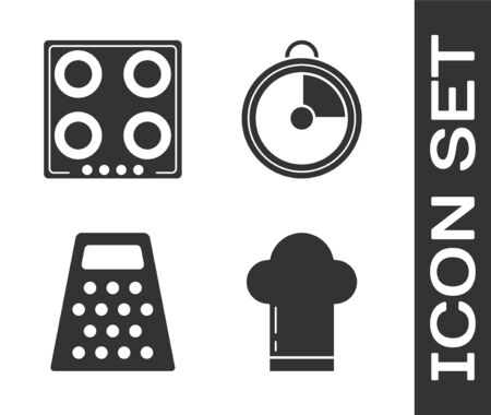 Set Chef hat , Gas stove , Grater and Kitchen timer icon. Vector Illustration