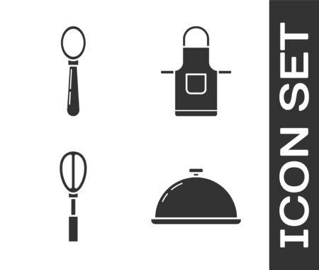 Set Covered with a tray of food , Spoon , Kitchen whisk and Kitchen apron icon. Vector