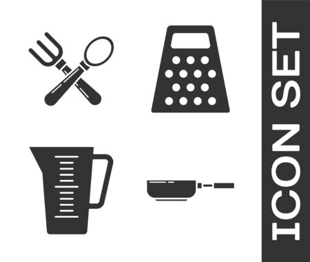 Set Frying pan , Crossed fork and spoon , Measuring cup and Grater icon. Vector