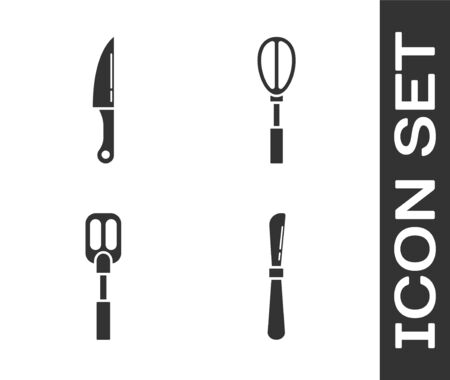 Set Knife , Knife , Spatula and Kitchen whisk icon. Vector