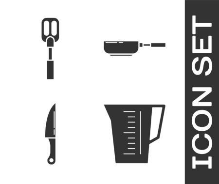 Set Measuring cup, Spatula , Knife and Frying pan icon. Vector Vector Illustratie