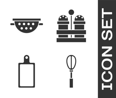 Set Kitchen whisk , Kitchen colander , Cutting board and Salt and pepper icon. Vector