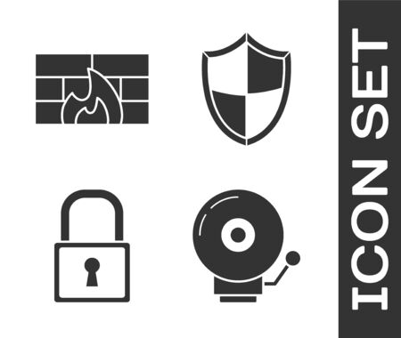 Set Ringing alarm bell , Firewall, security wall , Lock  and Shield  icon. Vector  イラスト・ベクター素材