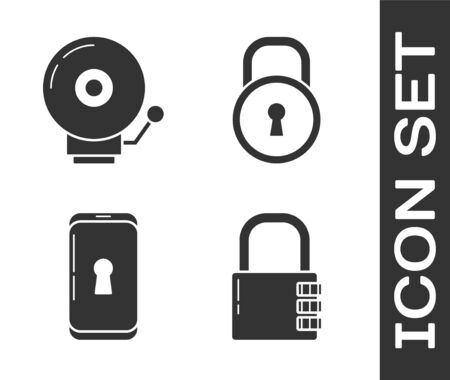 Set Safe combination lock , Ringing alarm bell , Smartphone with lock  and Lock  icon. Vector