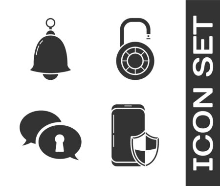 Set Smartphone with security shield , Ringing bell , Protection of personal data  and Safe combination lock wheel  icon. Vector  イラスト・ベクター素材