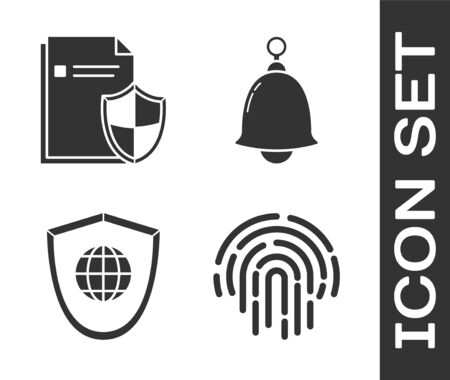 Set Fingerprint , Document protection concept , Shield with world globe  and Ringing bell  icon. Vector