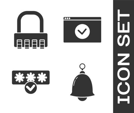 Set Ringing bell , Safe combination lock , Password protection and safety access and Secure your site with HTTPS, SSL icon. Vector