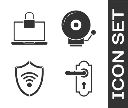 Set Door handle , Laptop and lock , Shield with WiFi wireless internet network and Ringing alarm bell  icon. Vector  イラスト・ベクター素材
