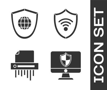 Set Computer monitor and shield , Shield with world globe , Paper shredder confidential and Shield with WiFi wireless internet network icon. Vector