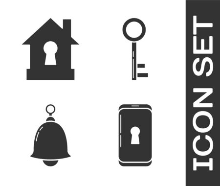 Set Smartphone with lock , House under protection , Ringing bell  and Key  icon. Vector