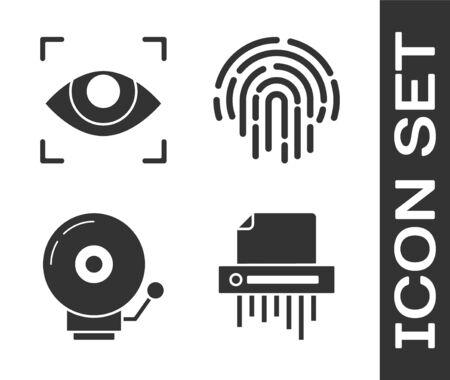 Set Paper shredder confidential, Eye scan , Ringing alarm bell  and Fingerprint  icon. Vector