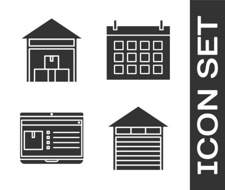 Set Closed warehouse , Warehouse , Laptop with app delivery tracking  and Calendar  icon. Vector
