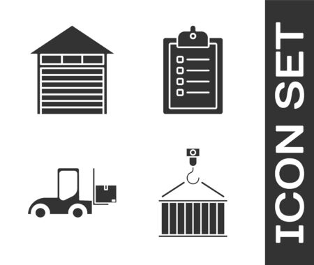 Set Container on crane, Closed warehouse , Forklift truck and Verification of delivery list clipboard icon. Vector