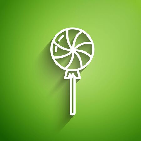 White line Lollipop icon isolated on green background. Candy sign. Food, delicious symbol. Vector Illustration Çizim