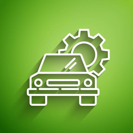 White line Car service icon isolated on green background. Auto mechanic service. Repair service auto mechanic. Maintenance sign. Vector Illustration