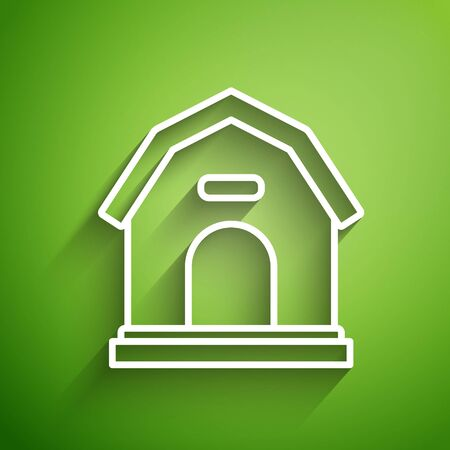 White line Dog house icon isolated on green background. Dog kennel. Vector Illustration
