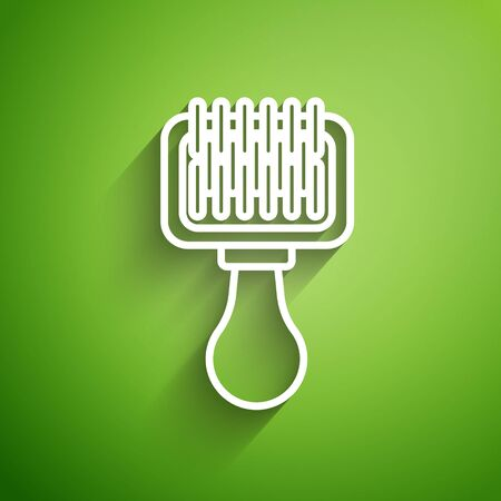 White line Hair brush for dog and cat icon isolated on green background. Brush for animal fur. Pet accessory. Vector Illustration Illusztráció