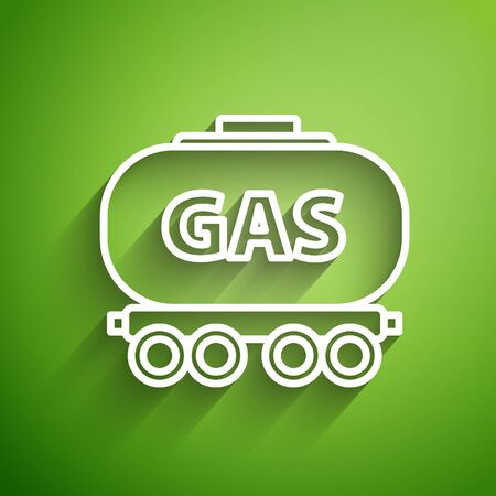 White line Gas railway cistern icon isolated on green background. Train gasoline tank on railway car. Rail freight. Vector Illustration