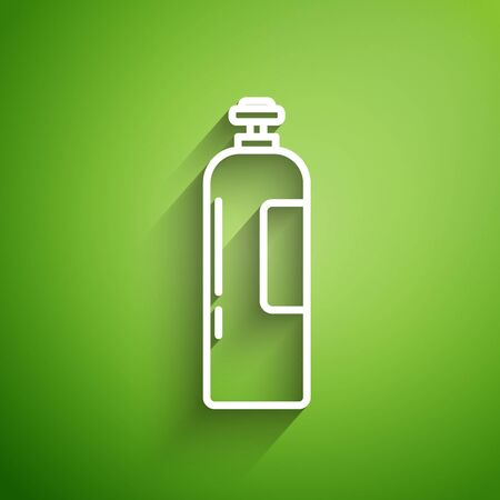 White line Industrial gas cylinder tank for all inert and mixed inert gases icon isolated on green background. Vector Illustration