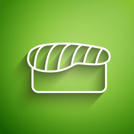 White line Sushi icon isolated on green background. Traditional Japanese food. Vector Illustration Vectores