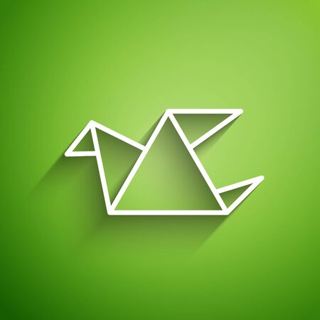 White line Origami bird icon isolated on green background. Vector Illustration