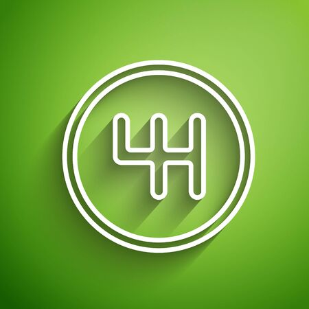 White line Gear shifter icon isolated on green background. Transmission icon. Vector Illustration Stock Illustratie