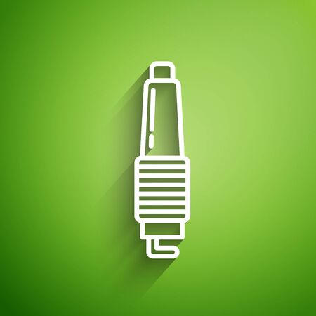 White line Car spark plug icon isolated on green background. Car electric candle. Vector Illustration