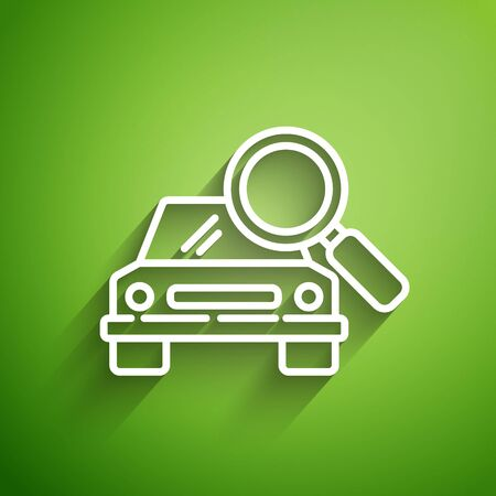 White line Car search icon isolated on green background. Magnifying glass with car. Vector Illustration Illusztráció