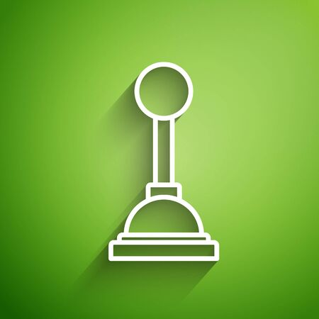 White line Gear shifter icon isolated on green background. Manual transmission icon. Vector Illustration