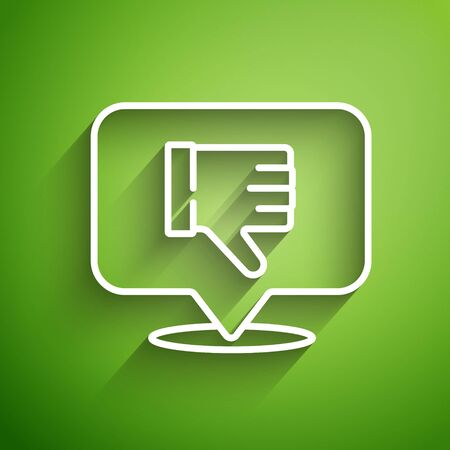 White line Dislike in speech bubble icon isolated on green background. Vector Illustration
