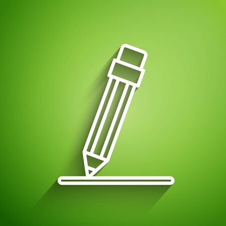 White line Pencil with eraser and line icon isolated on green background. Education sign. Drawing and educational tools. Vector Illustration