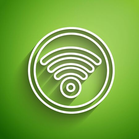 White line WiFi wireless internet network symbol icon isolated on green background. Vector Illustration 일러스트