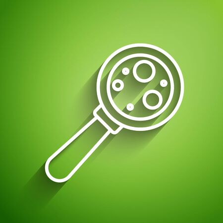 White line Microorganisms under magnifier icon isolated on green background. Bacteria and germs, cell cancer, microbe, virus, fungi. Vector Illustration