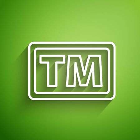 White line Trademark icon isolated on green background. Abbreviation of TM. Vector Illustration