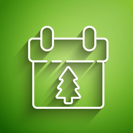 White line Calendar icon isolated on green background. Event reminder symbol. Merry Christmas and Happy New Year. Vector Illustration Foto de archivo - 139787980