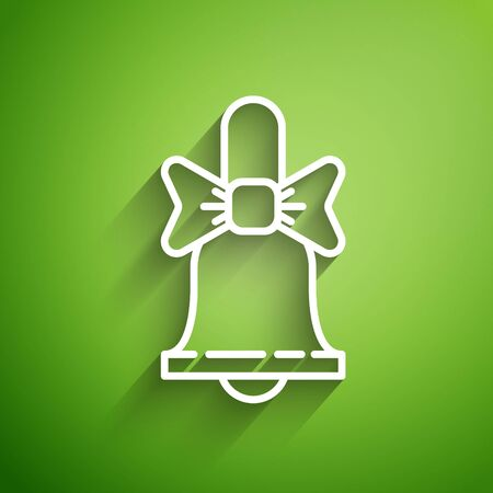 White line Merry Christmas ringing bell icon isolated on green background. Alarm symbol, service bell, handbell sign, notification. Vector Illustration  イラスト・ベクター素材