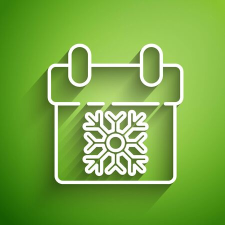 White line Calendar icon isolated on green background. Event reminder symbol. Merry Christmas and Happy New Year. Vector Illustration Foto de archivo - 139783158